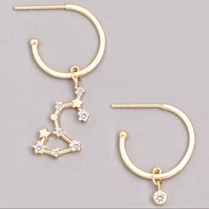 Jewelry - SCORPIO Zodiac Gold Huggie Hoop Earrings
